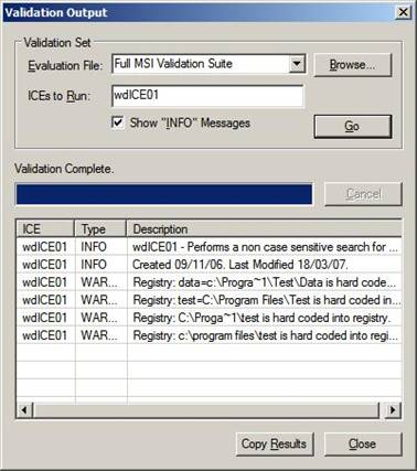 Validation Output Windows