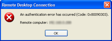 Remote Desktop Connection 0x80090303